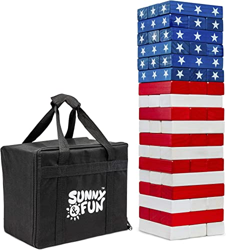 2021 Sunny & Fun Large American Flag Tumbling Tower | 54pc Set Oversized Wooden Toppling Blocks online sale | Indoor/Outdoor Stacking Yard Game for Adults & Kids | Great for high quality Party Lawn Backyard | w/ Storage Carry Bag online sale