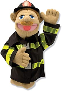 (Firefighter) - Melissa & Doug Firefighter Puppet with Detachable Wooden Rod, Puppets & Puppet Theatres, Animated Gesture...