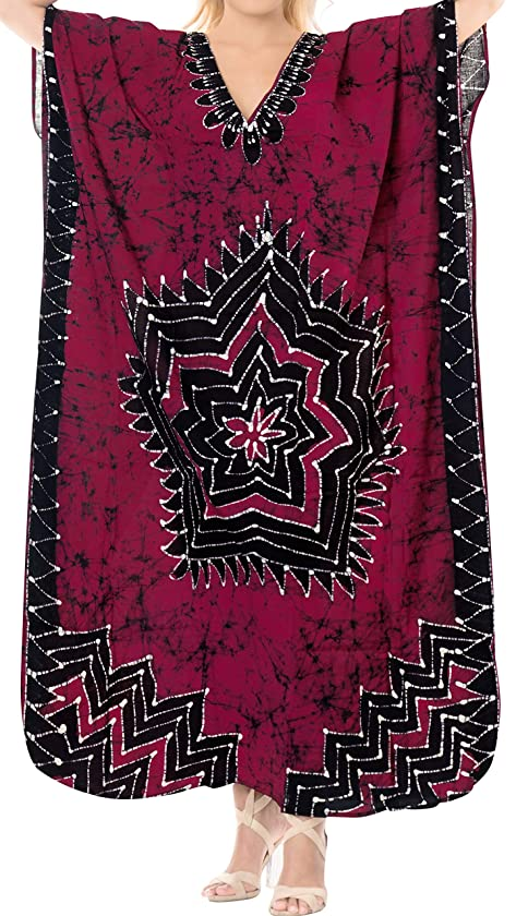 Women's Kimono Beachwear Swimwear Swimsuit Batik COTTON Long Kaftan Dress MAXI