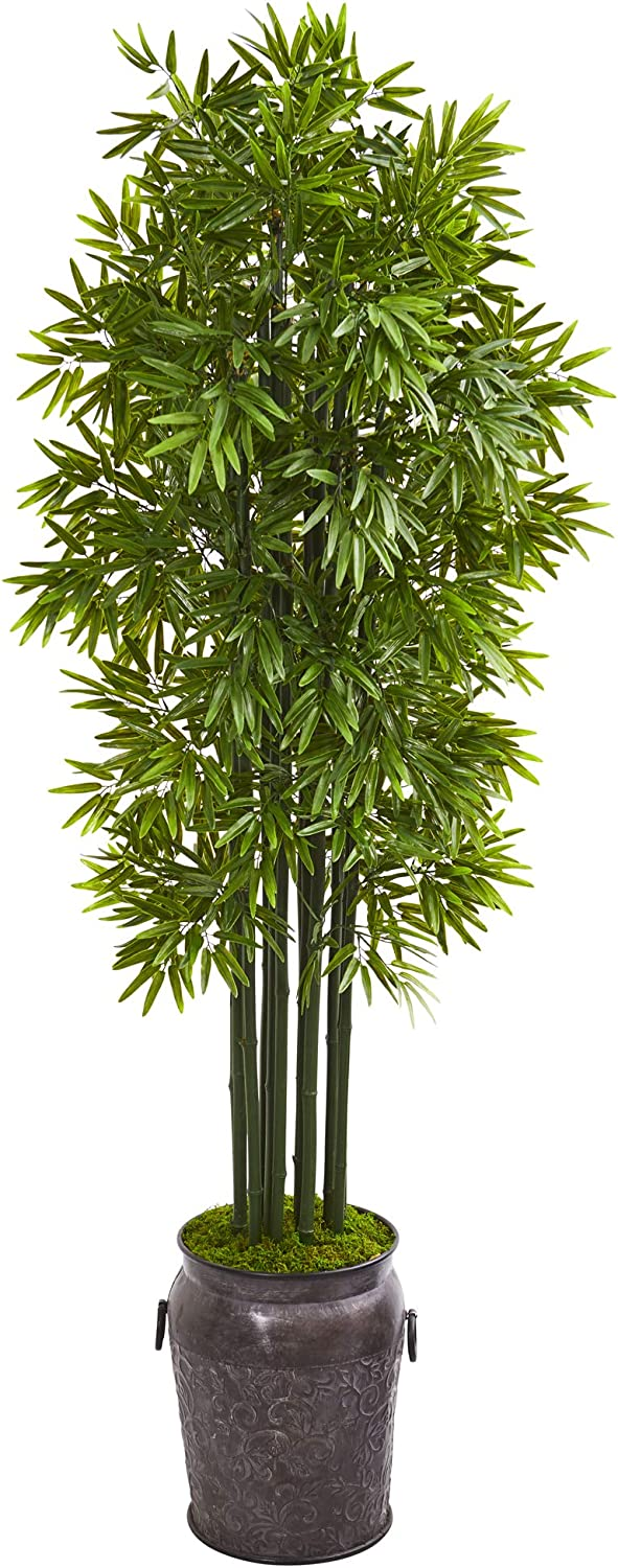 Nearly Natural 6' Super Special SALE held Purchase Bamboo Artificial in Black Trunks Planter