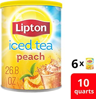 Lipton Iced Tea Mix for a delicious refreshment Peach Sweetened with Real Cane Sugar 100% Made From Real Tea Leaves 100% Sustainably Sourced 10 qt ( Pack of 6 )