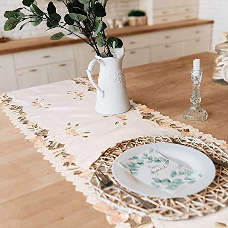 Tayis Chemin de Table 14 x 72 Pouces, Chemin de Table de Broderie Florale pour décor de Ferme de fête de Mariage (Poudre de Rose)