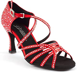 "Dancine Flame Ballroom Dance Shoes, Latin Salsa Bachata ChaCha,Double-Layer Heel Tip, 3"" /7.5cm Heel."