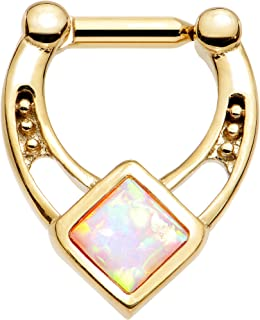 Body Candy Gold Anodized Titanium Steel Iridescent Accent Glamour Septum Clicker 14 Gauge 1/4