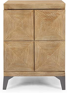 Christopher Knight Home Katherine Mango Wood Cabinet, Sandblasted Oak, Gray Antique