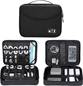 Electronics Organizer, Electronic Accessories Double Layer Travel Cable Organizer Cord Storage Bag for Cables, iPad (Up to 12.9''), Power Bank, USB Flash Drive and More-Large (Black)