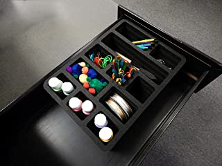 $23 » Polar Whale Utility Drawer Organizer Tray Waterproof Washable Insert for Crafts Office Home Shop Shelf Closets and More Made in USA 9.25 X 13.5 X 4.2 Inches 11 Compartments Black Extra Deep Pockets