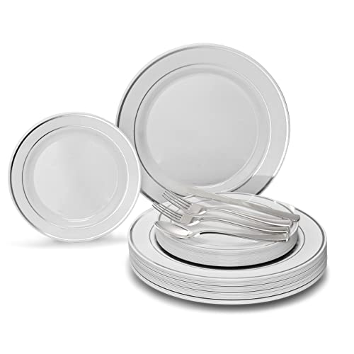 """White Plastic Plates 6/"""" Extra Strong with Silver Rim x 20"""
