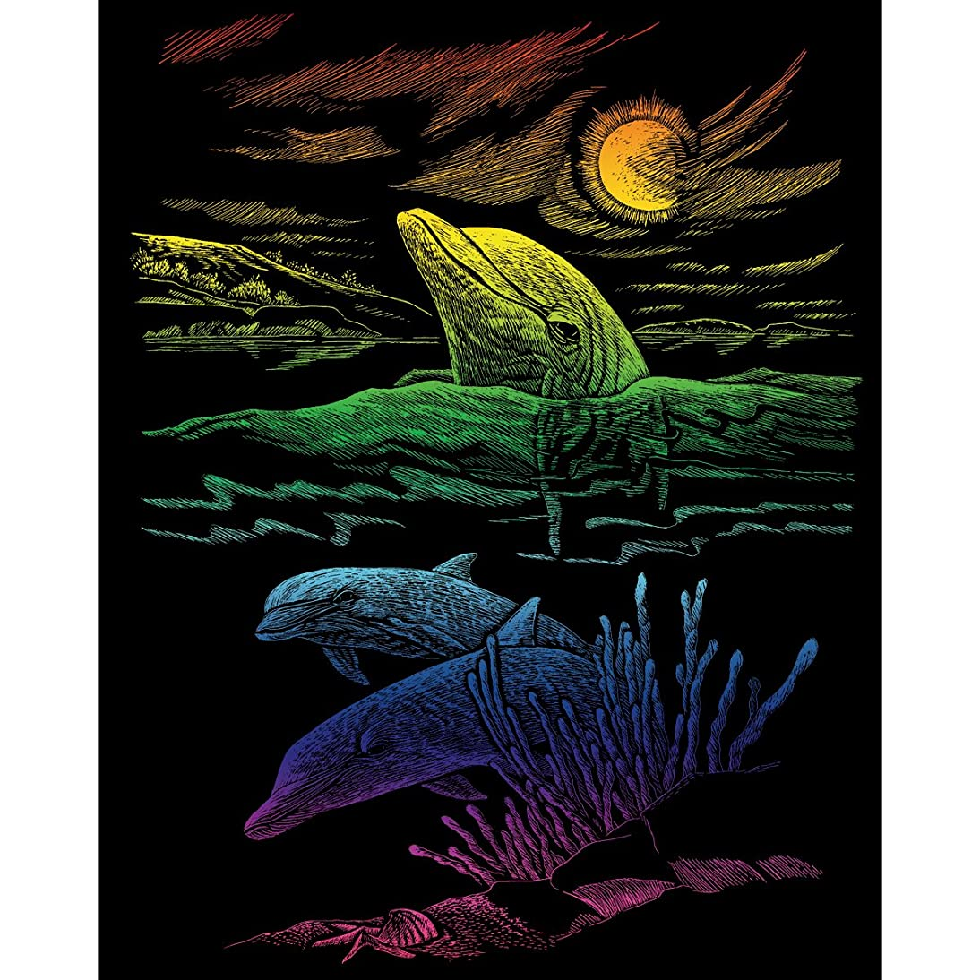 ROYAL BRUSH Rainbow Foil Engraving Art Kit, 8-Inch by 10-Inch, Dolphin Reef