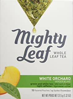 Mighty Leaf Tea, White Orchard, 15-Count Whole Leaf Pouches 1.32 Oz. (Pack of 3)