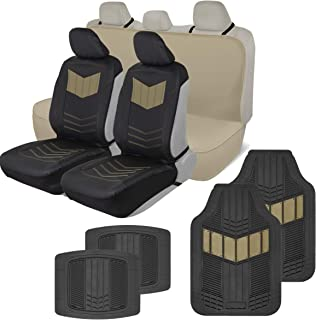 Motor Trend COMBO304 ComfortPlush Vegan Leather Sideless (Front 2pc) Waterproof Bench Seat Cover (Rear 1pc) & Heavy-Duty Floor 4pc Mat Car Auto (Sedan Truck SUV Minivan) Full Set Combo (Beige)