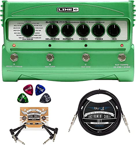 new arrival Line 6 DL4 sale Delay Modeler Pedal Bundle online sale with Blucoil 10-FT Straight Instrument Cable (1/4in), 2-Pack of Pedal Patch Cables, and 4-Pack of Celluloid Guitar Picks outlet sale