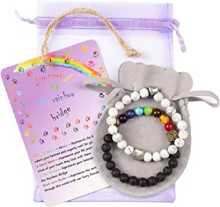 Pet Memorial Bracelet Gift - White Black 2pcs Loss of Pet Giftswith Rainbow Bridge Card Sympathy Gifts for Your Beloved Pet Dog Cat