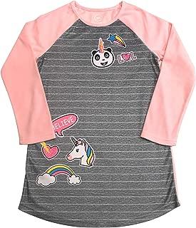 Long Sleeved Fleece Girls Nightgown Pajamas with Panda, Unicorn, and More Styles (Medium (7/8), Grey Emojis)