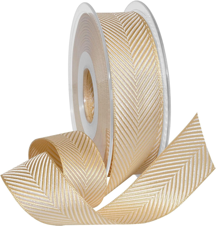 Morex Ribbon Morex Ribbon Herringbone Britannia, Polyester, 1 inch by 16.4 Yards, Champagne, Item 1392.25 15104, 1392.25 15104, Champagne, 1  by 16.4 yd