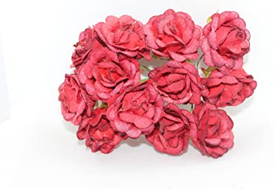 Delush Design Artificial Velvet Flowers Hair Accessory Craft Decor Home Party Decor Flowers -(Pack of 36 pcs,Red)