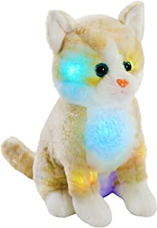 Bstaofy LED Cat Stuffed Animal Kitten Plush Toy Floppy Soft Adorable Gift for Kids Toddlers on Christmas Birhtday Halloween Festivals, 11'' (Brown)