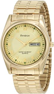 Armitron Men's 201142CHGP Casual Gold-Tone Expansion Band Easy to Read Watch
