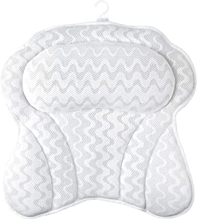 Bath Pillow, Bathtub Cushion for Neck with 6 Non-Slip Strong Suction Cups, Helps Support Head, Back, Shoulder and Neck, Fi...
