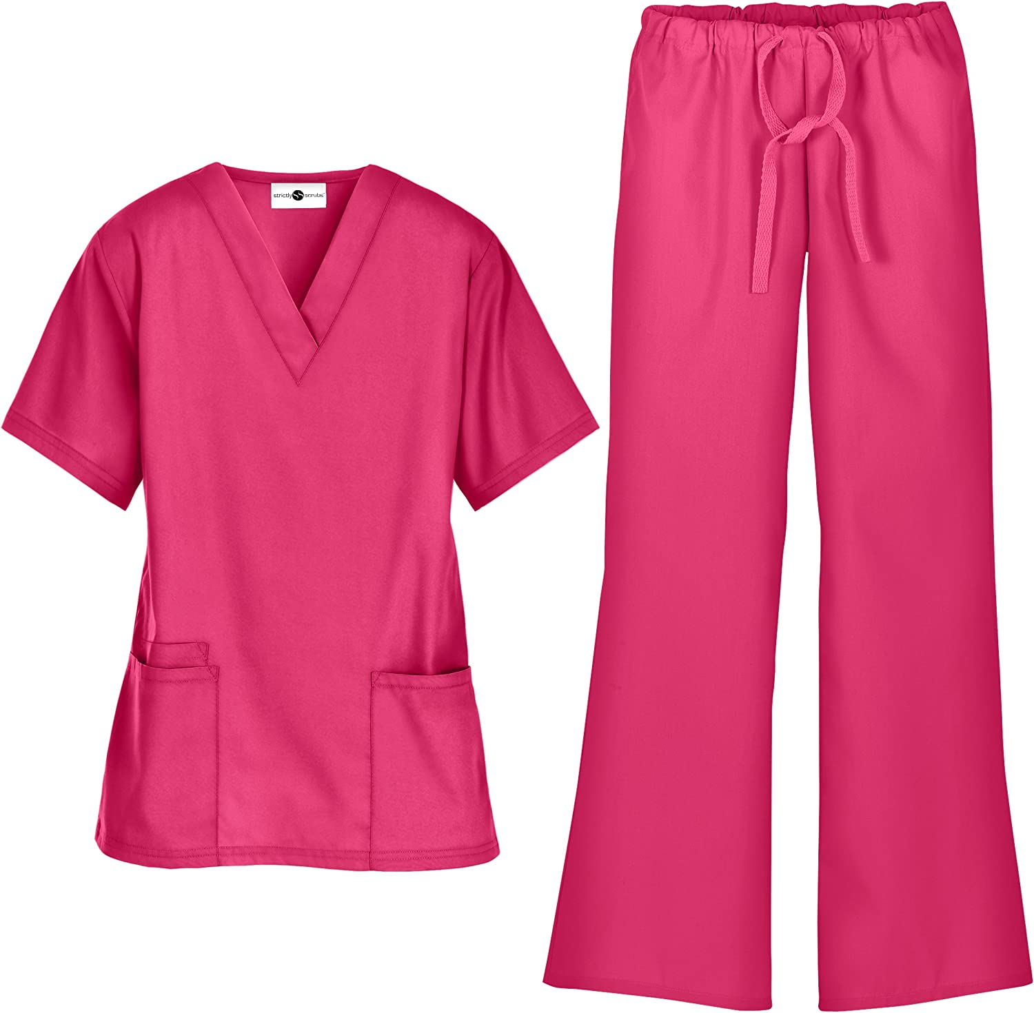 Women's Scrub Set  Includes VNeck Top and Drawstring Pant (XS3X, 7 colors)