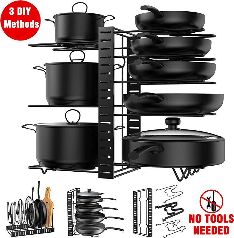 Pot Rack Organizer 3 DIY Methods Height And Position Are Adjustable 8 Pots Holder Metal Kitchen Cabinet Pantry Pot Pan Lid Holder BLACK