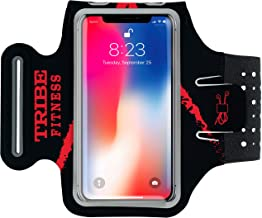 TRIBE Premium Running Armband & Phone Holder for iPhone 8, 7, 6, 6S Samsung Galaxy S7, S6-100% Lycra with Adjustable Elastic Band & Key/Card Slot for Running, Hiking, Gym Workout