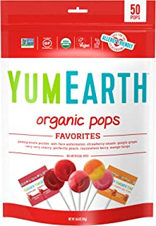 YumEarth Organic Lollipops, Variety Pack, 50 lollipops - 10.9 oz (pack of 1) - Allergy Friendly, Non GMO, Gluten Free, Veg...