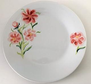 MaJe ceramista plato esmaltado porcelana pintada a mano rosas rojas.