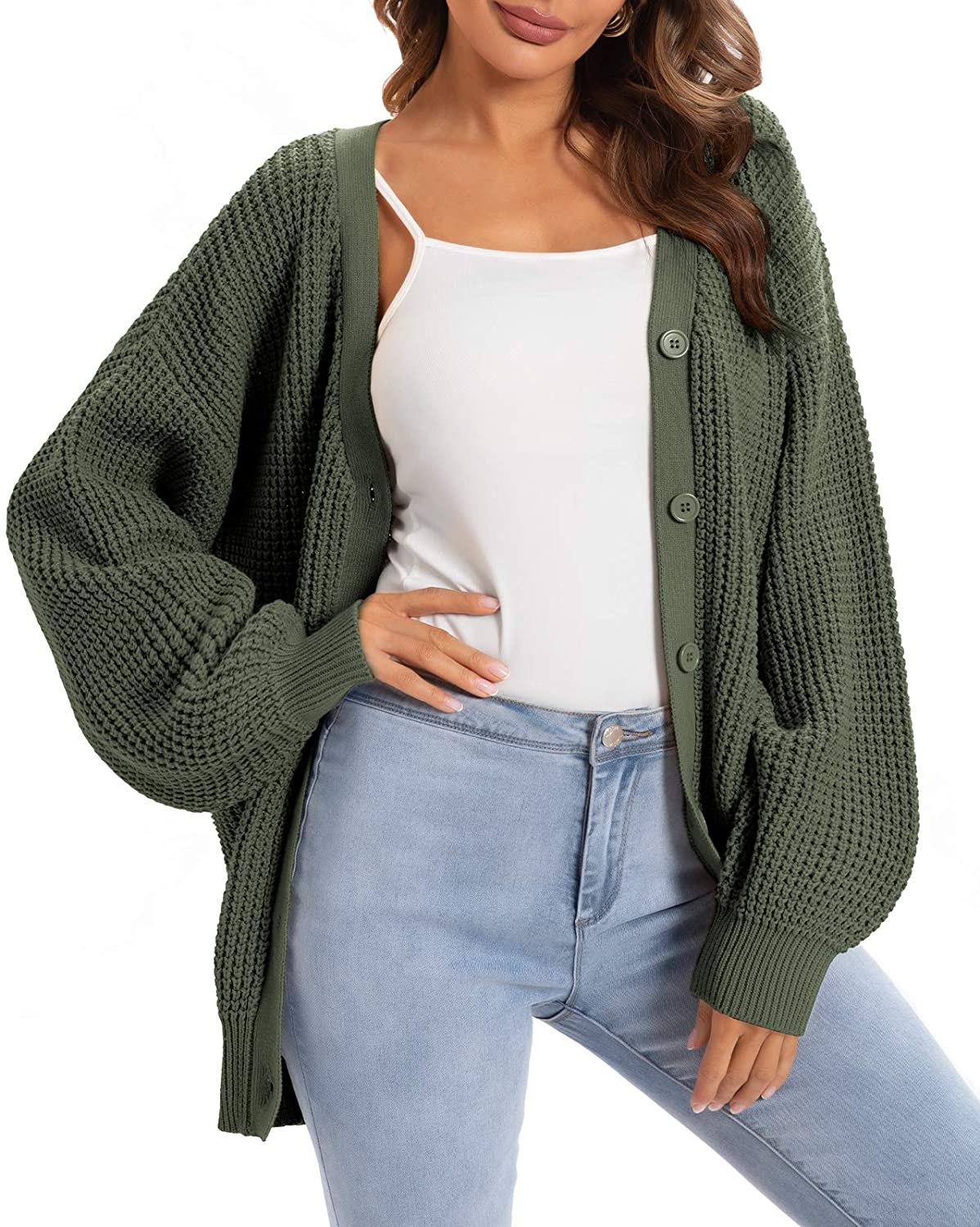 QUALFORT Women's Cardigan Sweater 100% Cotton Button-Down Long Sleeve Oversized Knit Cardigans