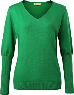 Panreddy Women Cashmere Blend Loose Batwing Sleeve Deep V-neck Pullover Sweater