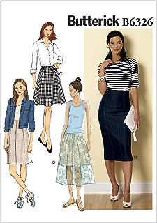 BUTTERICK PATTERNS B6326 Misses' Raised-Waist or Elastic-Waist Skirts, Size F5 (16-18-20-22-24)