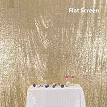 PartyDelight Sequin Backdrop Wedding Curtain Special Events, Party (Light Gold, 5FTx6FT)