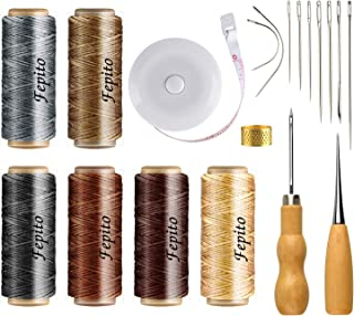 FEPITO 19 Pcs Leather Waxed Thread 198 Yards 6 Colors Leather Sewing Waxed Cord with Leather Craft Tools Kit for Leather Upholstery DIY Sewing Craft