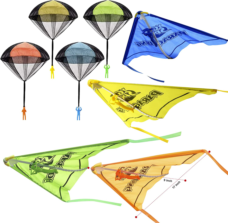 JOYIN 8 Pack 2 in 1 Parachute Toys for Kids, Parachute Toy Set w