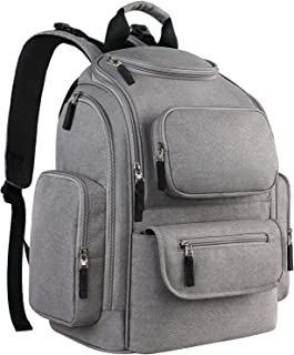 Backpack Diaper Bag for Mom, Multi-Function Large Travel Backpack for Women Men, Maternity Nappy Bags for Baby Nursing Care, Durable Stylish Mommy Bag with Changing Mat Stroller Straps Grey