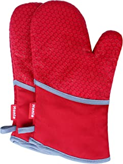 Honla Kitchen Oven Mitts with Non Slip Silicone Printed,1 Pair of Heat Resistant Oven Gloves for Cooking,Baking,Grilling,Barbecue Potholders,Red