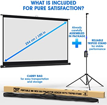 Projector Screen with Stand 100 inch - Indoor and Outdoor Projection Screen for Movie or Office Presentation - 16:9 H...