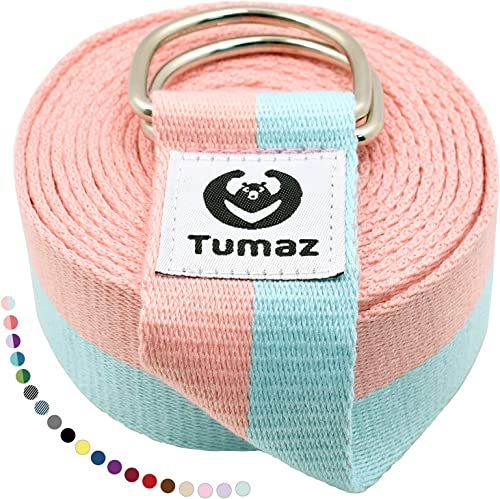 Tumaz Yoga Strap/Stretch Bands [15+ Colors, 6/8/10 Feet Options] with Extra Safe Adjustable D-Ring Buckle, Durable an...
