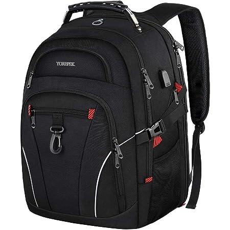 YOREPEK Laptop Backpack,TSA Travel Laptop Backpack with USB Charging Port & Headphone Hole,Business Laptop Backpack 17 inch Men Women College large Computer Backpack School Bag Rucksack Daypack,Black
