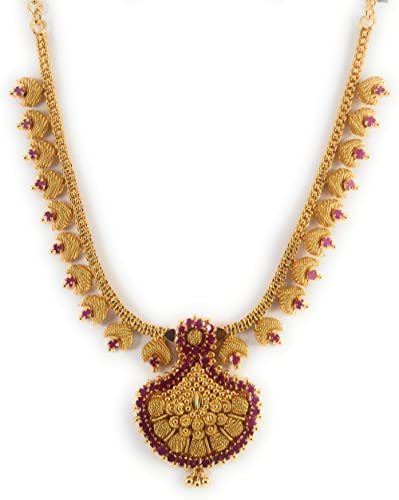 AFJ GOLD 1 Gram Micro Gold Plated Traditional Designer Fashion Jewellery Stone Necklace for Women & Girls (DGT/HALL-04)