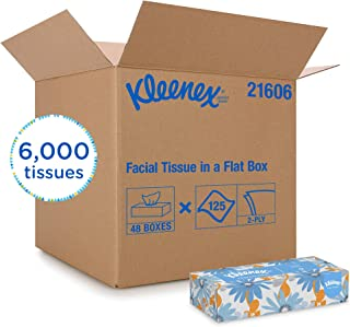 Kleenex 21606CT White Facial Tissue, 2-Ply, Pop-Up Box, 125 Sheets (Case of 48)