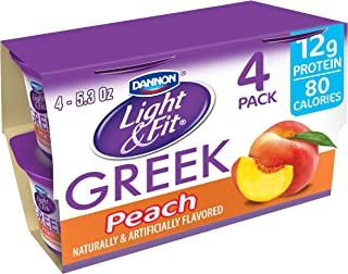 Dannon Light & Fit Nonfat Greek Yogurt, Peach, 5.3 Ounce (4 Pack) Greek Yogurt Cups