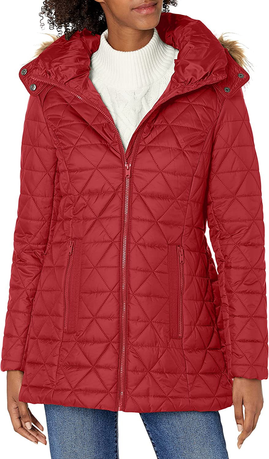 Marc New York by Andrew Marc womens Chevron Quilted Down Jacket with Removable Faux Fur Hood