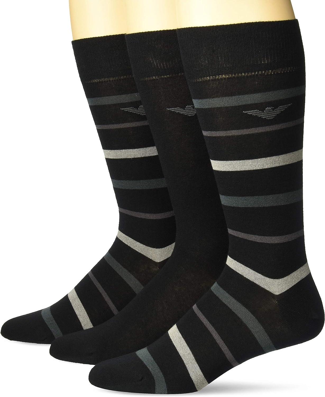 Emporio Armani mens Men's High quality Sho Pack Department store 3 Multistripes