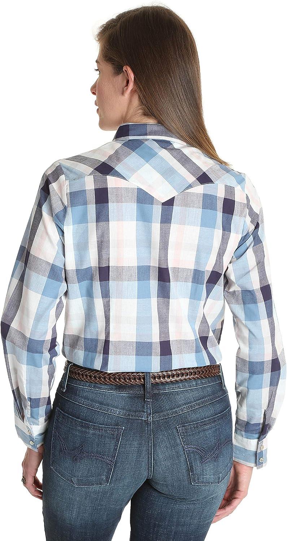 Wrangler Apparel Camisa a cuadros azul y gris para mujer con ...