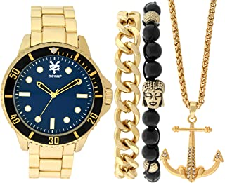 Zoo York Golden Sea Watch Gift Pack- Matching Gold Chain and Bead Bracelets - Gold Anchor Necklace