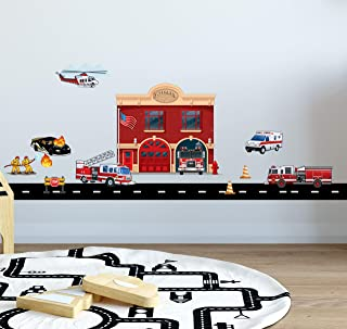 Fire Station Brigade Wall Sticker (17 Piece) Decal for a Fun Firefighter Boys Bedroom Wall Decor Decoration
