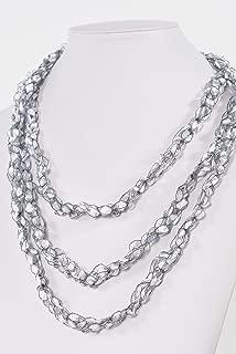 CROCHETLACES Handmade Lightweight Crochet Yarn Rope Scarf Necklace- Moonstone