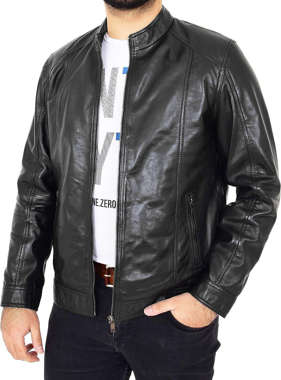 Mens Soft Black Leather Jacket Casual Zip Fasten Coat Nobel