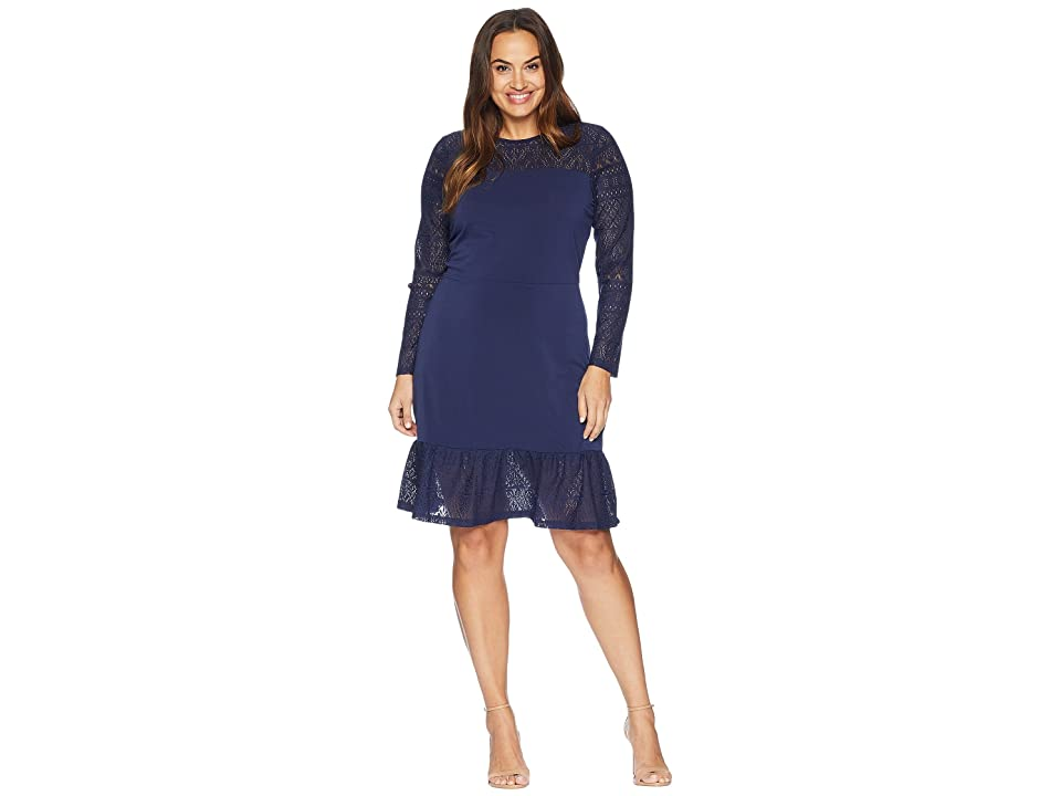 MICHAEL Michael Kors Plus Size Fabric Mix Long Sleeve Dress (True Navy) Women